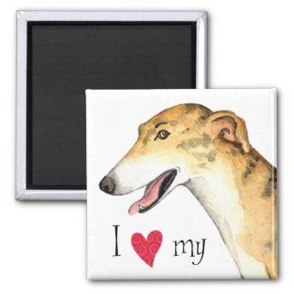 I Love my Greyhound 2 Inch Square Magnet