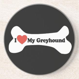 I Love My Greyhound  - Dog Bone Beverage Coaster