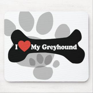 I Love My Greyhound  - Dog Bone Mousepads