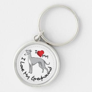 I Love My Greyhound Dog Keychain
