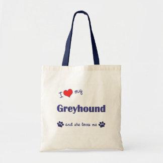 I Love My Greyhound Female Dog Tote Bags