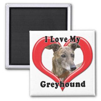 I Love My Greyhound Logo in Heart Magnet