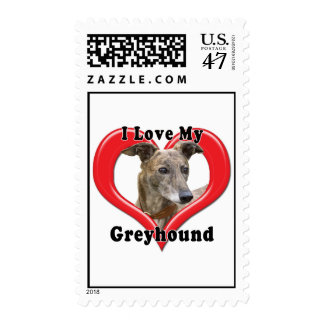 I Love My Greyhound Logo in Heart Postage