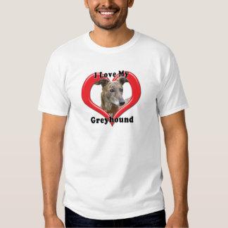 I Love My Greyhound Logo in Heart Tee Shirts