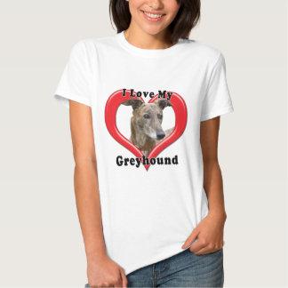 I Love My Greyhound Logo in Heart Tshirt