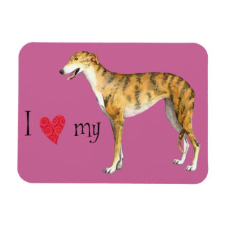 I Love my Greyhound Rectangular Photo Magnet