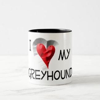 I Love My Greyhound Two-Tone Coffee Mug