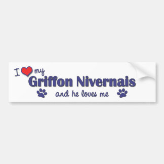 I Love My Griffon Nivernais (Male Dog) Car Bumper Sticker