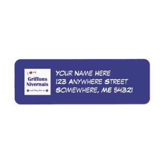 I Love My Griffons Nivernais (Multiple Dogs) Custom Return Address Label