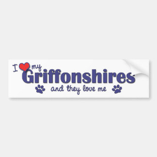 I Love My Griffonshires (Multiple Dogs) Bumper Sticker