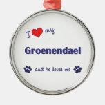 I Love My Groenendael (Male Dog) Christmas Ornaments