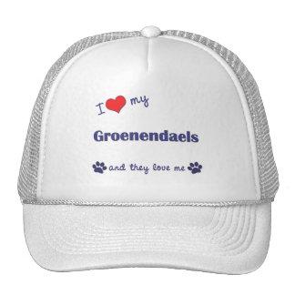 I Love My Groenendaels (Multiple Dogs) Mesh Hats