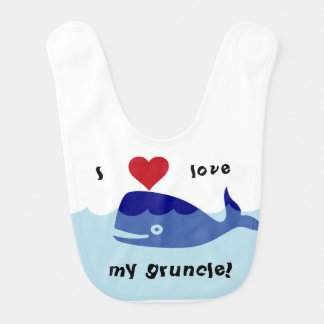 I love my gruncle! whale design bib