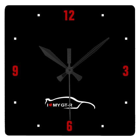 I Love My GT-R Brushstroke Logo Square Wall Clock