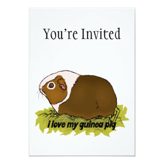 I Love My Guinea Pig 5x7 Paper Invitation Card