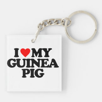 I LOVE MY GUINEA PIG Double-Sided SQUARE ACRYLIC KEYCHAIN