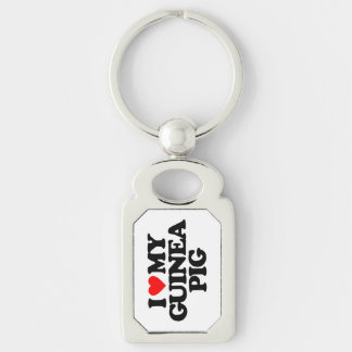 I LOVE MY GUINEA PIG Silver-Colored RECTANGULAR METAL KEYCHAIN