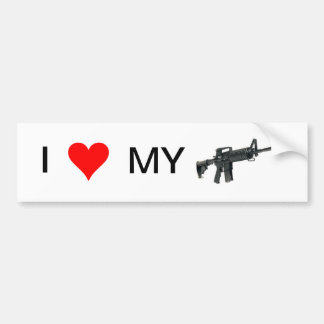 I Love My Gun (AR-15) Car Bumper Sticker