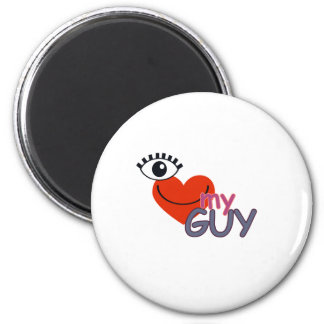 I Love My Guy - I Love My Girl 2 Inch Round Magnet