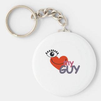 I Love My Guy - I Love My Girl Basic Round Button Keychain