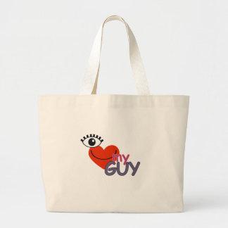I Love My Guy - I Love My Girl Jumbo Tote Bag