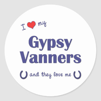 I Love My Gypsy Vanners (Multiple Horses) Round Stickers