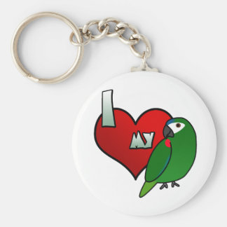 I Love my Hahn's Macaw Keychain