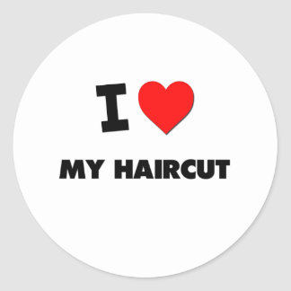 I Love My Haircut Round Stickers