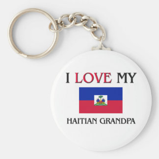 I Love My Haitian Grandpa Basic Round Button Keychain