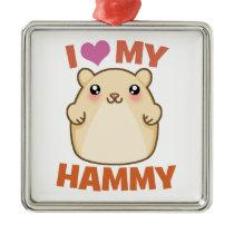 I Love My Hammy Hamster Holiday Ornament