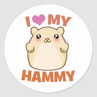 I Love My Hammy Round Stickers
