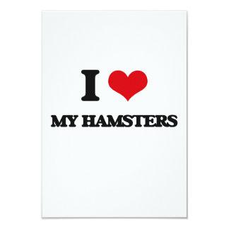 I Love My Hamsters 3.5x5 Paper Invitation Card