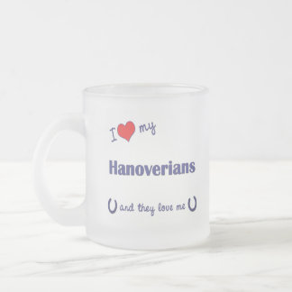 I Love My Hanoverians (Multiple Horses) Frosted Glass Coffee Mug