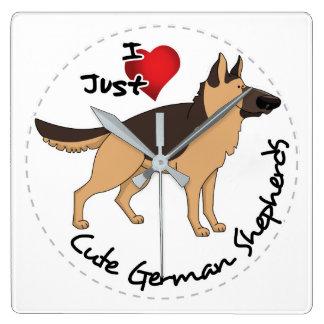 I Love My Happy Adorable & Cute German Shepherd Square Wall Clock