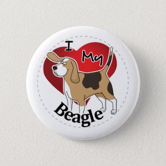 I Love My Happy Adorable Funny & Cute Beagle Dog Button