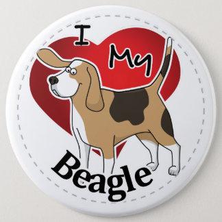 I Love My Happy Adorable Funny & Cute Beagle Dog Pinback Button