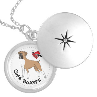 I Love My Happy Adorable Funny & Cute Boxer Dog Locket Necklace