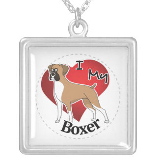 I Love My Happy Adorable Funny & Cute Boxer Dog Silver Plated Necklace