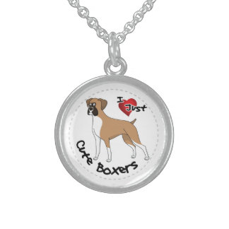 I Love My Happy Adorable Funny & Cute Boxer Dog Sterling Silver Necklace