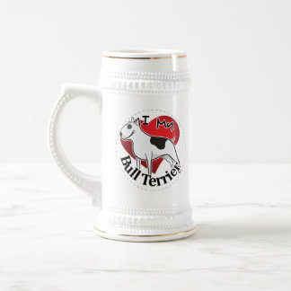I Love My Happy Adorable Funny & Cute Bull Terrier Beer Stein