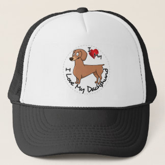 I Love My Happy Adorable Funny & Cute Dachshund Do Trucker Hat