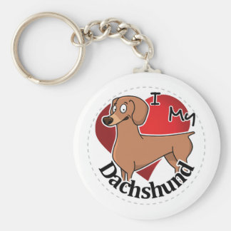 I Love My Happy Adorable Funny & Cute Dachshund Keychain