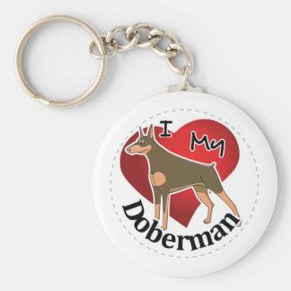 I Love My Happy Adorable Funny & Cute Doberman Dog Keychain