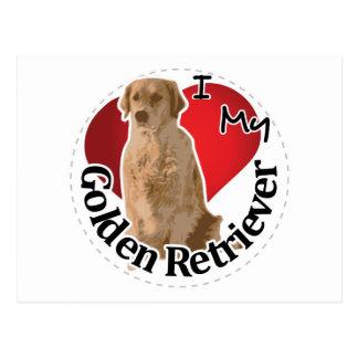 I Love My Happy Adorable Funny & Cute Golden Retri Postcard