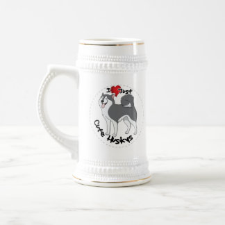 I Love My Happy Adorable Funny & Cute Husky Dog Beer Stein