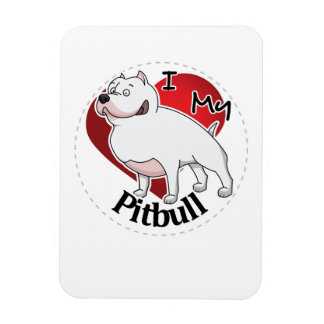 I Love My Happy Adorable Funny & Cute Pitbull Dog Magnet