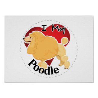 I Love My Happy Adorable Funny & Cute Poodle Dog Poster