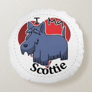 I Love My Happy Adorable Funny & Cute Scottie Dog Round Pillow