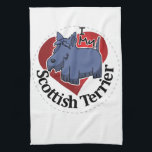 "I Love My Happy Adorable Funny &amp; Cute Scottish Ter Towel<br><div class=""desc"">The I love my happy adorable funny &amp; cute Scottish Terrier dog and the I love my comical, humorous Scottish Terrier puppy dogs artwork is designed specially for people who love whimsical, lovable Scottish Terriers and sweet &amp; smart Scottish Terrier puppies. Click &#39;Cute Scottish Terriers&#39; to see all our other...</div>"
