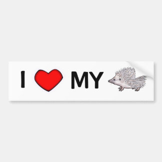 I Love My Hedgehog Bumper Sticker